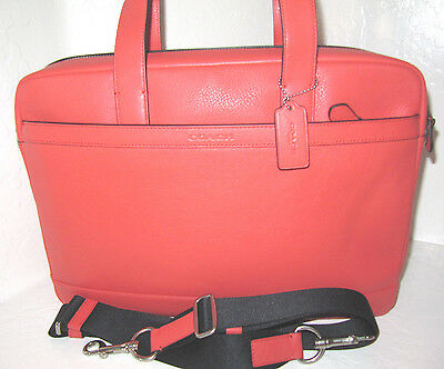 New Authentic Coach Coral Leather Hudson Briefcase Bag F71561 NWT $450