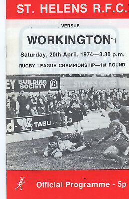 St.helens V Workington Merit Competition Round 1 Rugby League Programme 20-4-74
