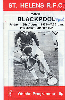St.helens V Blackpool Charity Cup Rugby League Programme 16-8-74