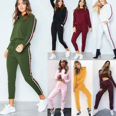 2Pcs Womens Tracksuit Hoodies Sweatshirt Pants Set Casual Lounge Wear Sport Suit