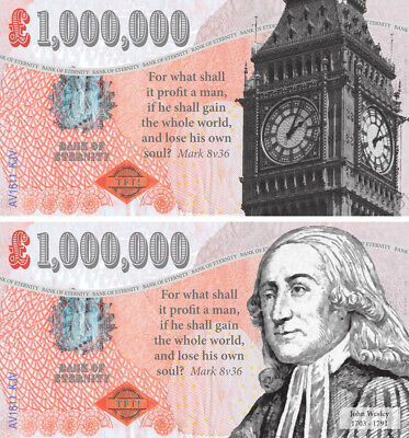ONE MILLION POUND Note Bill Big Ben John Wesley Gospel 1470x Tracts TfT AT COST