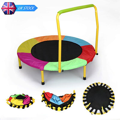 Folding Junior Kids Trampoline Bouncer with Handle Garden Play Toy Multi color