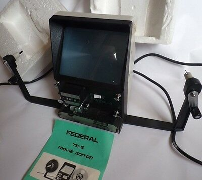 Vintage Federal TE-5 Movie Editor Working Boxed Made Japan Dual Editor