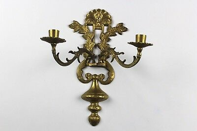 Vintage Antique Brass Medieval Gothic Wall Sconce 2 Piece Candlestick Holder