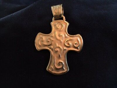 "Custom 24kt gold cross pendant | 1-1/2"" with large bail 3.25 grams of pure gold"