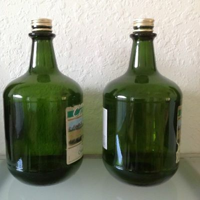 LOT OF 2 HUGE EMPTY WINE BOTTLES 3 LITERS JUG Green Glass Craft Homemade Storage