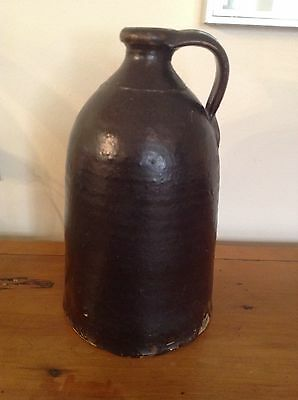 Antique Brown Salt-Glazed Stoneware Pottery Crock Jug