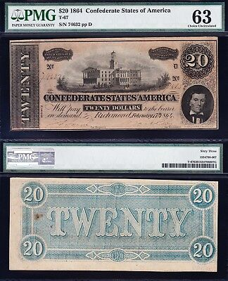 Amazing CHOICE UNCIRCULATED 1864 T-67 $20 CSA Confederate Note PMG 63! 74632