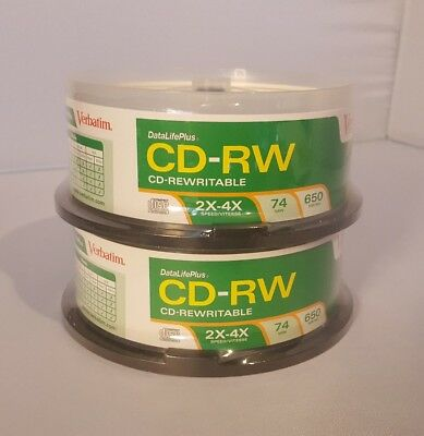 Verbatim CD-RW 2x-4x 74min. 650MB/Mo 50ct. (25x2) New/Sealed Blank Discs