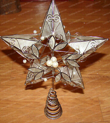 Hand Painted Capiz (White Faux Peals) Star, Christmas Tree Topper