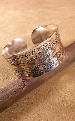 Silver Plated Cuff/Armband, Filigree Stamped, Eastern Woodlands, Longhunter