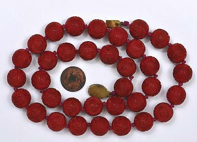 Vintage Chinese Cinnabar Lacquer Carved Carving Shou Calligraphy Bead Necklace