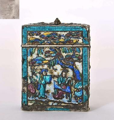 Late 19th Century Chinese Silver Enamel Mirror Compact Box Marked
