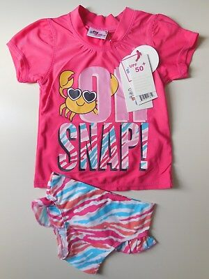 Upf50+ Baby Toddler Girl Rash Top + Bikini Pants Bathers Swimwear Size 1 Fit 12M