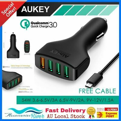 AUKEY 4 Ports QC 3.0 Quick Fast Charging  USB car charger for Apple Samsung