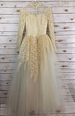 Vintage Wedding Dress Gown Lace Tulle Size 6 Ivory Beaded 2 4 (II)