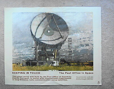 Original 1960s GPO poster THE POST OFFICE IN SPACE (GOONHILLY) by KEN HOWARD