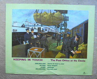 Original 1960s GPO large poster KEEPING IN TOUCH, THE POST OFFICE AT THE DOCKS