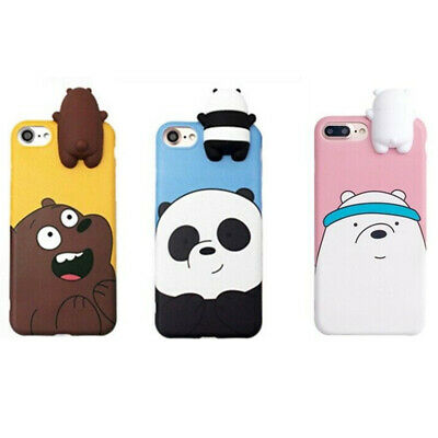 3D Cartoon Animals Cute We Bare Bears Soft Silicone Case Cover Skin For iPhone