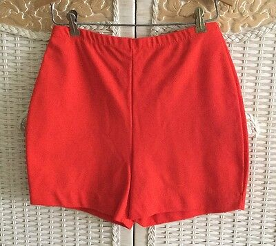 Vintage Christenfeld Orange red Polyester high waist Shorty Shorts MOD M