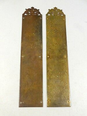 Pair Reclaimed Victorian Brass Finger Door Push Plates Fingerplate
