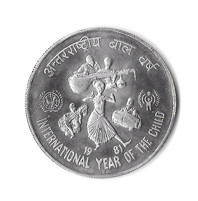 """1981 India """"International Year of the Child"""" 100 Rupees Silver Coin"""