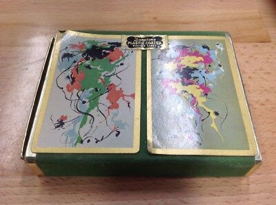 Vintage Playing Cards Duratone Plastic Coated Deck Art Deco Regal