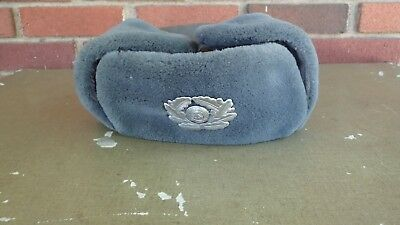 East Germany DDR Army Military Winter Hat Size 58 Grey Insignia