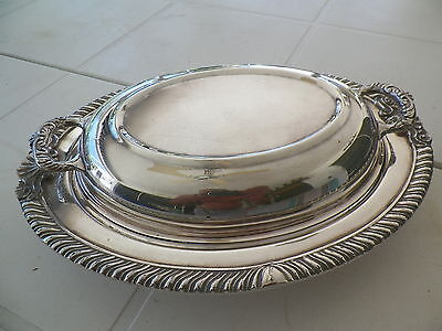 Vntg 12'' Silverplated Lided Dish-Fancy Edge