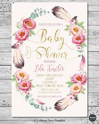 Floral Baby Shower Personalised Invitation Invite Card Pink Gold Girl Boho Chic