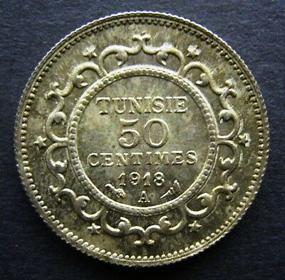 Tunisia - Silver 50 Centimes - 1918 A - Extremely Rare - Only 1,003 Minted