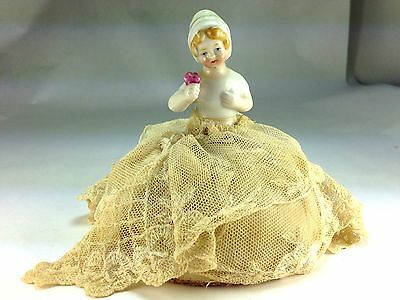"Antique Rare  German ""girl Holding Flowers"" Porcelain Half-Doll  Pincushion"