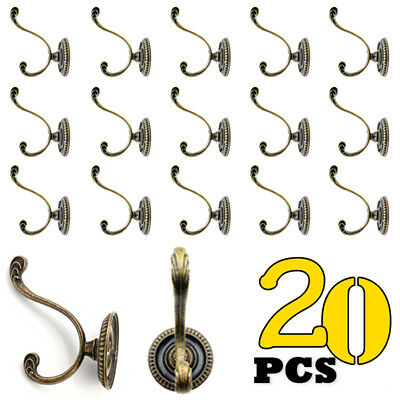 20Pcs Vintage Iron Hooks Cast Hat Coat Hanger Key Wall Door Robe Classic Style