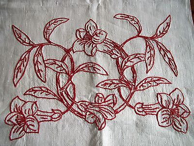 Antique Table Runner Embroidered Linen Red Embroidery Redwork Dresser Scarf