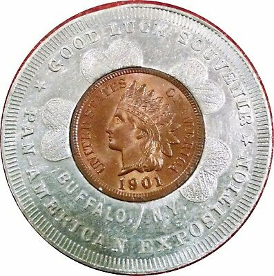 1901 Pan-American Exposition Encased Indian Head Cent ~ Gem Uncirculated Cent