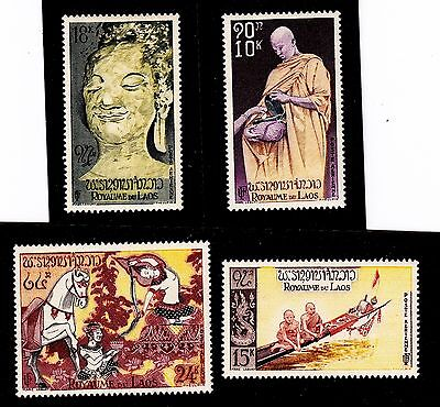Laos   Scott# C27-C30  Mnh  Religion/buddha Monks