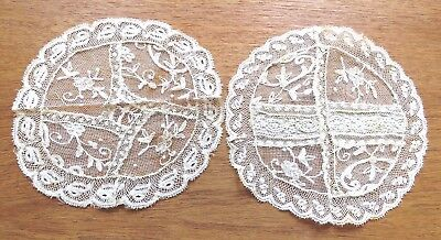 Antique Embroidered Doilies French Normandy Lace Doily Handmade Table Mats