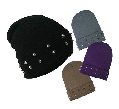 Chrome Studded Knitted Beanie Hat Slouch Hat Stud Spike Goth Punk Adults Winter