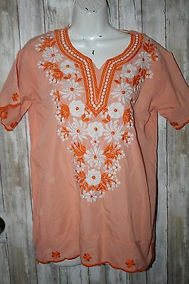 Vintage Orange Mexican Festival Heavy Embroidered shirt Size 6, Runs big