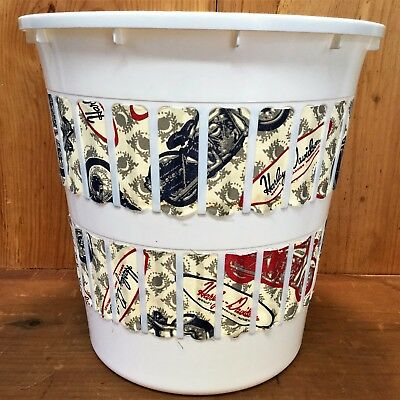 """HARLEY DAVIDSON Motorcycle FABRIC Plastic Waste Basket Trash Can 11"""" Tall Tote"""