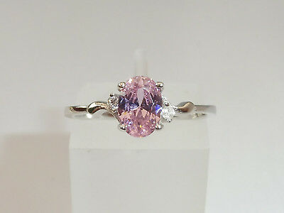 Ladies Sterling 925 Fine Silver White Pink Sapphire Solitaire with Accents Ring