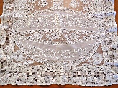 French Normandy Lace Runner Whitework Embroidery Antique Boudoir Dresser Scarf