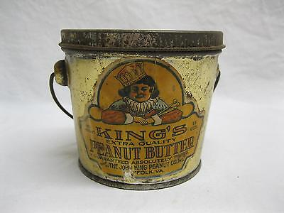 Kings Suffolk Va Peanut Butter Tin Can Pail Old Antique Vtg Paper Label Pea Nut