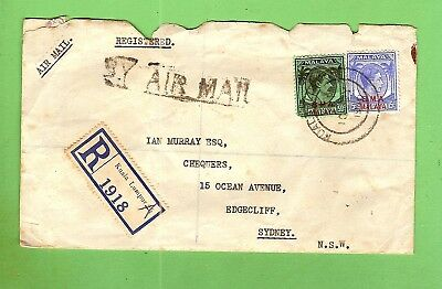 #d315. Postal History - 1946 Envelope Malaya To Edgecliff With Seal