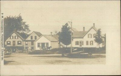 FW Cunningham Liberty ME - Town Buildings c1905 Real Photo Postcard