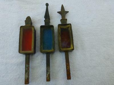 Lot of 3 Antique Cast Iron Fence FINIALS w/ Blown Glass Amberina Ruby Blue Acorn