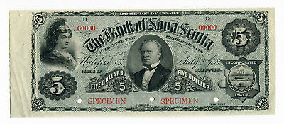 Canada Specimen, Bank Of Nova Scotia $5, 1881, 99c NO RESERVE