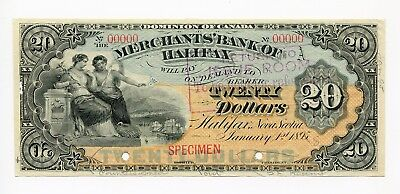 Canada Specimen, Merchants Bank Of Halifax $20, 1895, 99c NO RESERVE