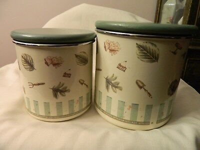 Vintage Set Of Two Pfalztgraff Naturewood Enamed Cannisters - Wood Tops - Euc