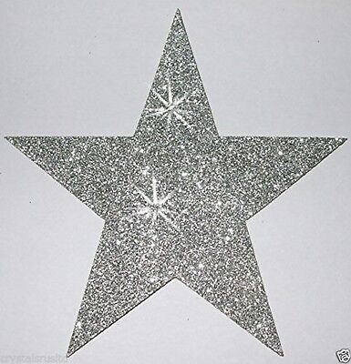 Sliver 3 Fabric Glitter 102mm 4 Inch Star Iron-On Fabric Transfer silver